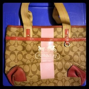Authentic Coach Purse Light Brown and Pink